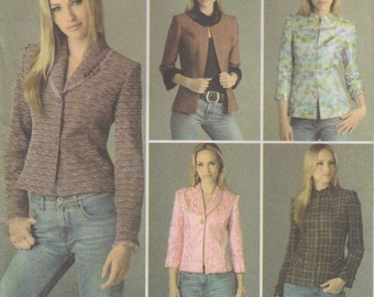 Lined Jacket Pattern Collar Variations Size 8 - 16 Eur size 34 - 42 Uncut  Simplicity 4363
