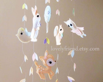 "Baby Mobile - Nursery Mobile - ""Jungle Critters Love Beautiful Floating leaves"" Mobile - Long Neutral Crib Mobile  (Custom Color Available)"