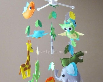 """Long Baby Mobile - Neutral Nursery Mobile - blue and green crib Mobile - """"Jungle Friends Happy Day"""" Mobile (Custom Color Available)"""
