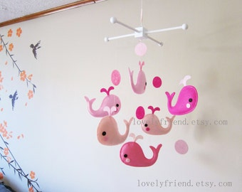 "Baby Girl Mobile - Pink Crib Baby Mobile - ""Six Little Pink Whales "" mobile - Custom Nursery Mobile (Match your bedding)"