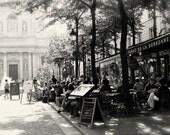 Paris Cafe Print - Tabac de la Sorbonne Black and White Paris Photography French Cafe Decor Parisian Wall Art Kitchen Decor Bistro