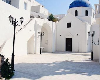 Santorini Greece Photography - Mediterranean Decor - Oia Print Blue and White Decor White Churches Photo Gas Lamps Travel Photograph