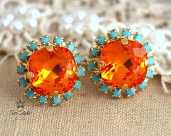 Orange Turquoise Earrings,Tangerine Swarovski stud earrings Orange Tangerine Stud earrings,Gift for her,Turquoise Orange Swarovski earrings