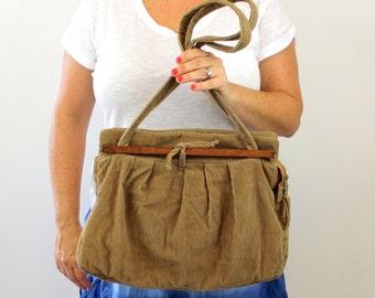 Vintage 70s Carpet Bag Purse Brown Corduroy  Double Straps Wood Handles Shoulder Bag