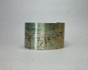 Cuff Bracelet Upstate New York Map Finger Lakes Ithaca Oswego Cortland Albany Unique Gift