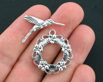5 Hummingbird Toggle Sets Antique Silver Tone Perfect Bracelet or Necklace Clasps - SC4111