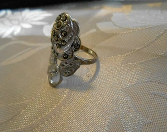 "Antique ring, 14 KHGE and marcasite rose ring, signed ""U"" with an arrow ring, Uncas ring, designer ring, size 6 & 1/2 ring"