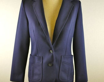Navy Blue Pocketed Fitted Women's Blazer
