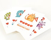 Personalized Kid's Valentine Cards, Children's Classroom Valentines // MONSTROUSLY CUTE