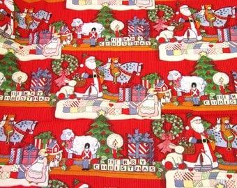 "SUSAN WINGET CHRiSTMAS TOYS on Shelves Linear Christmas Print Fabric 1 yard x 44"" wide"