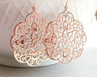 Rose Gold Earrings Big Lace Filigree Modern Large Dangle Pink Gold Spanish Style Boho Bridal Jewelry Bridesmaids Gift For Girlfriend