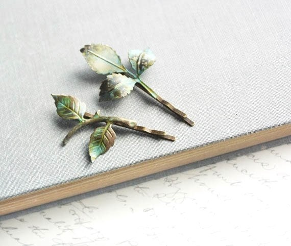 Branch Bobby Pins Leaf Bobby Pins Verdigris Green Woodland Wedding Hair Accessory Rustic Nature Fairytale Enchanted Garden Bridal Hair Pins