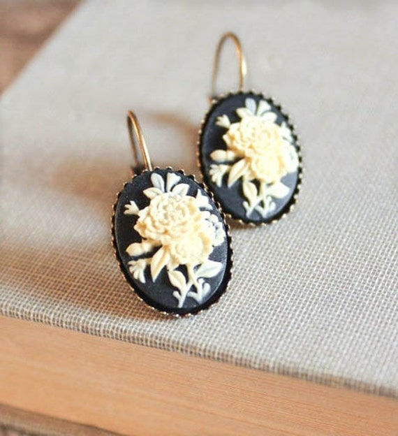 Black Cameo Earrings Short Lever Back Earrings Nickel Free Jewelry Ivory Rose Earrings Vintage Style Leverback Black Earrings