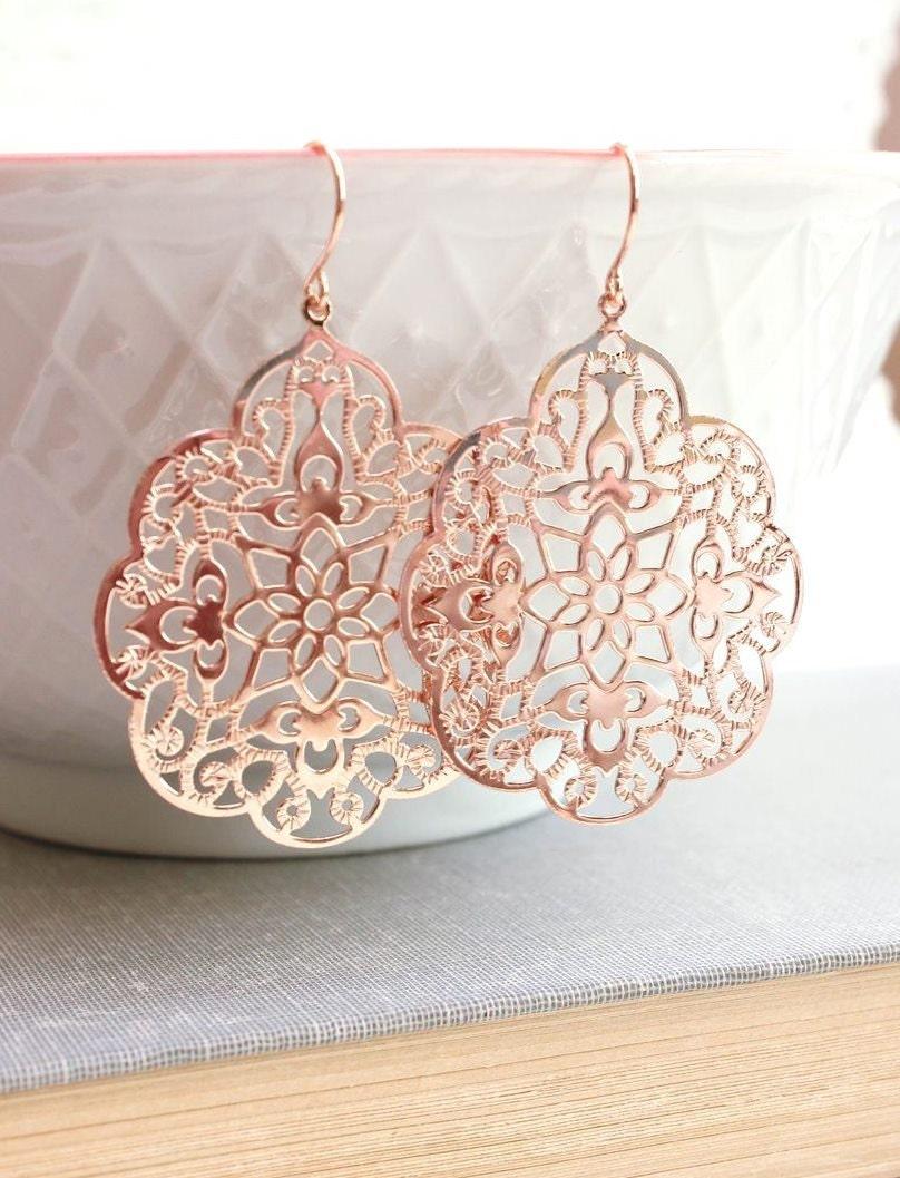 Rose Gold Earrings Big Lace Filigree Modern Large Dangle Pink