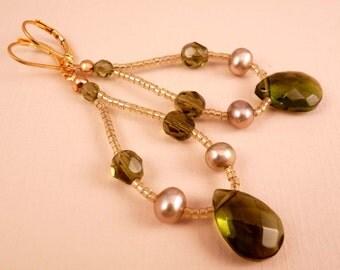Teardrop Earrings Beaded Earrings Pearl Jewelry Beaded Jewelry Olive Earrings Green Earrings Olive Green Gold Earrings lHoop Earrings