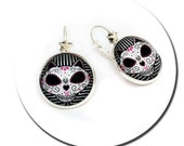 Cat Mexican Sugar Skull - Round Pad Star French Earringsc