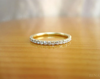 Stackable Diamond Eternity Band, Diamond Eternity Ring, Eternity Wedding Band, Diamonds Go HALF Way Around, Gold Eternity Band With Diamonds
