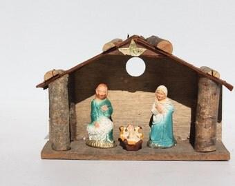 Vintage Christmas Nativity Creche Set - Wood Stable