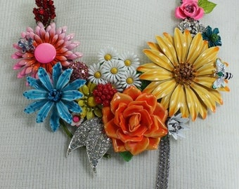 Statement Necklace Assemblage Bib Vintage Enameled Flowers Spring Summer Handcrafted OOAK