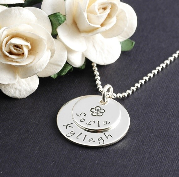 Hand Stamped Necklace - Small Double Stacked - Personalized Necklace - Sterling Silver