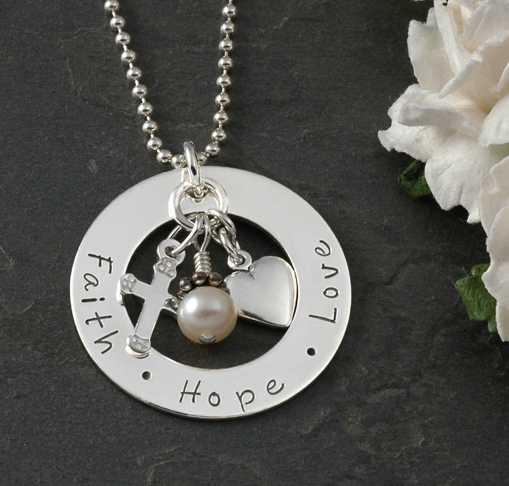 Faith hope love hand stamped necklace sterling silver for Faith hope love jewelry