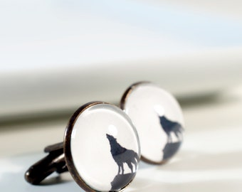 Howling Wolf Cufflinks Silhouette Personalized Wild Animal Cuff Links