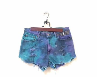 Marble Dyed Shorts. High Waisted, Dyed, Pastel Tie Dye, Studded, Shredded, Torn denim jean shorts high waist hipster grunge dip dyed ooak