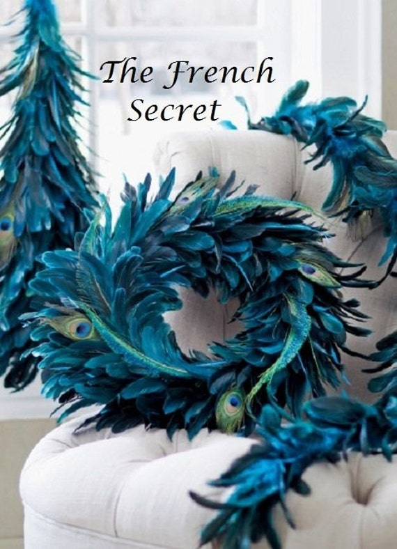 Christmas peacock garland decoration blue by thefrenchsecret
