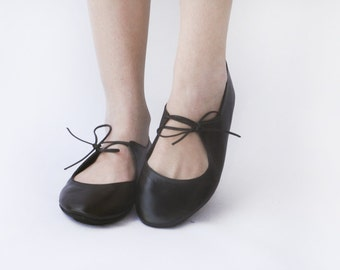 Night - Black Handmade ballet flats - CUSTOM FIT
