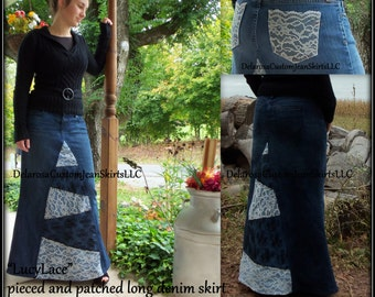 DELAROSA Lucy Lace pieced and patched long denim skirt custom made to your ( lovely elegant and modest)