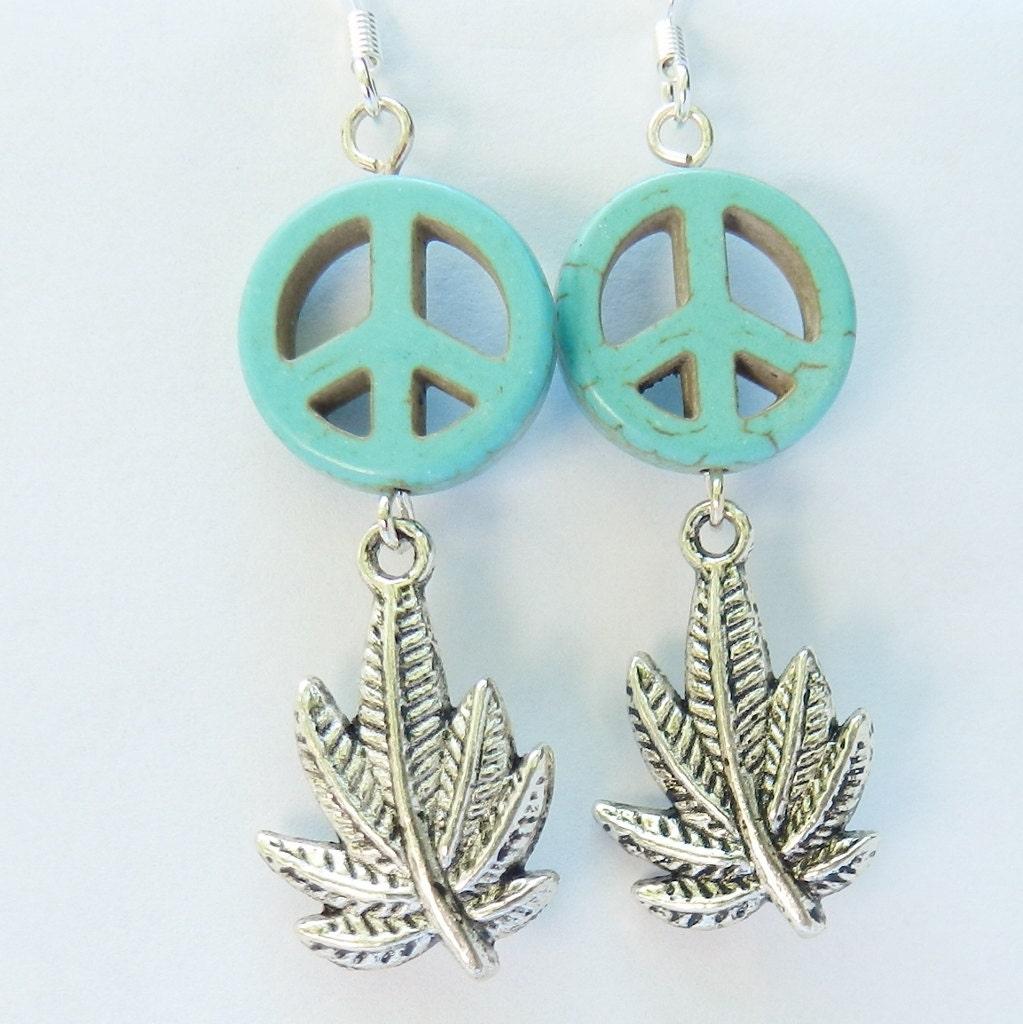 marijuana peace earrings hippie jewelry by