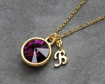 February Birthstone Jewelry, Personalized Initial Necklace, Amethyst Jewelry, Gold New Mother Gift, Purple Amethyst Necklace