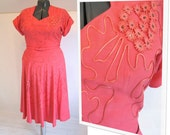 44B-36W-60H vintage 1950's party dress, rhinestone and soutache trims, hot pink linen, bombshell pinup perfect, vintage size 18 petite