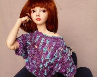 SD BJD Handknit Purple/Blue Lacey 80s Oversized Cropped Sweater