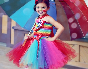 Girls Circus Tutu Dress- Clown Costume- Circus Costume- Clown Tutu- Rainbow Tutu dress- Halloween costume-
