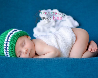 Crochet Baby Boy Beanie Newborn to 5T Hat - Kelly Green, Dark Country Blue, White - MADE TO Order