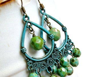 gypsy queen rustic patina chandelier earrings, boho, bohemian