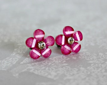 Titanium Post Earrings, Dark Pink Glitter Flower with Jewel, 12 mm, Hypoallergenic