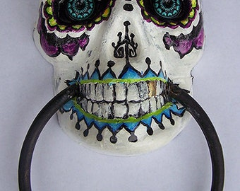 SALE!! Was 78.00/NOW 30.00 Day of the Dead/Sugar Skull/Door Knocker/Macabre/Altered Art/Oddities/Home Decor