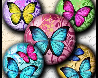 INSTANT DOWNLOAD New Colorful Butterflies (673) 4x6 Bottle Cap Images Printable Digital Collage Sheet  glass tile hair bows cabochon images