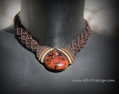 Elegant FIBER necklace with mahogany OBSIDIAN stone, dark BROWN micro makrame choker with stone, Made To Order