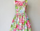 Vintage inspired bridesmaid dress , floral dress, cotton dress, party dress, 50's dress, CUSTOM MADE
