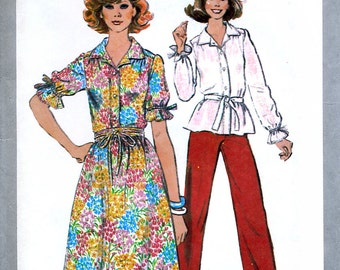 Simplicity 8405 Vintage 70s Misses' Skirt, Pants and Blouse Sewing Pattern - Uncut - Size 10 - Bust 32.5