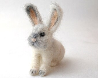 Needle Felted Animals. Needle Felted Bunny. White Rabbit. Gifts For Kids. Felted Rabbit. Kids Toy. Cute Gifts. Gifts For Girls. Kids Gifts