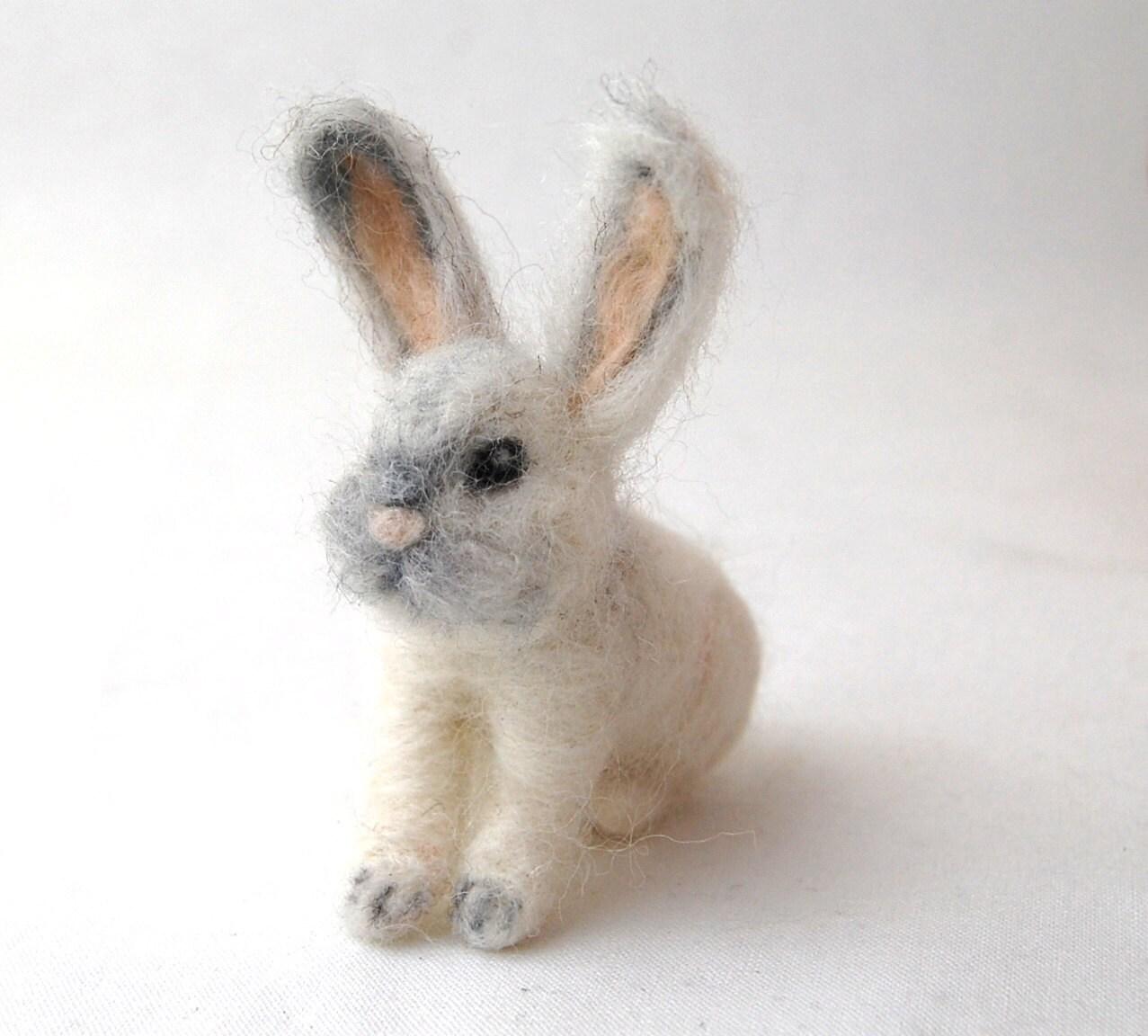 Needle Felted Animals. Needle Felted Bunny. White Rabbit.