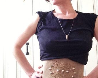 Vintage Suede Studded Corset waist Belt