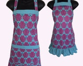 Mother and Daughter Matching Set Aprons // Turquoise and Pink Solaria Medallion Print Apron