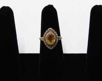 Vintage 10k Yellow Gold and Citrine Ring Size 7-3/4
