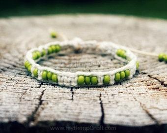 Macrame Hemp Bracelet with Beads, Lime Green Adjustable Hemp Bracelet