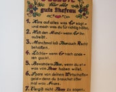 Reserved for Jackie - 8 Commandments for the Good Wife - German Wood Wall Plaque  - Kitschy Husband Care Instructions